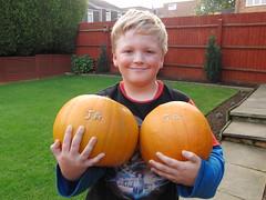 Jason with his Pumpkin's.