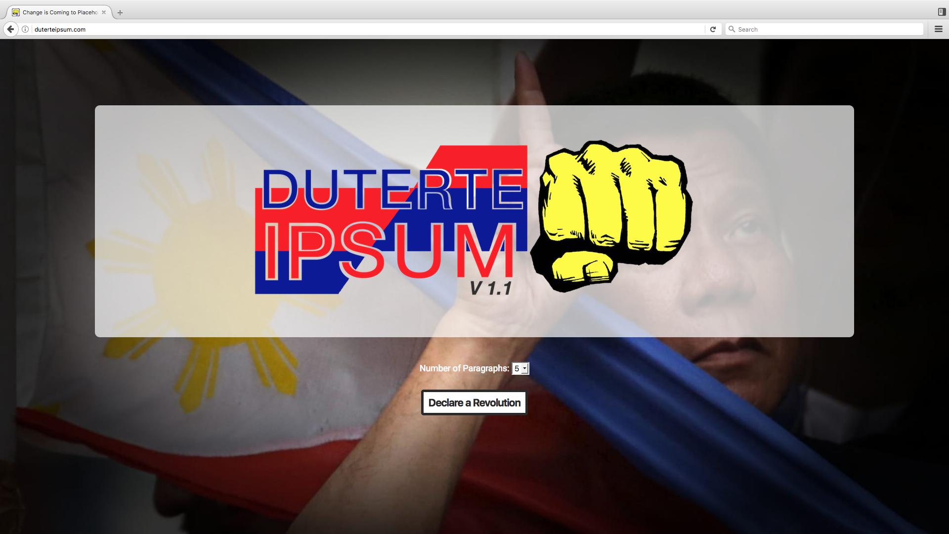 Duterte Ipsum website picture