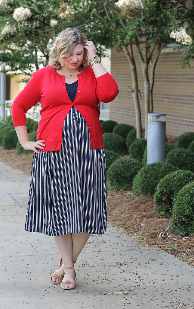 maternity blue stripe dress and red cardigan 6