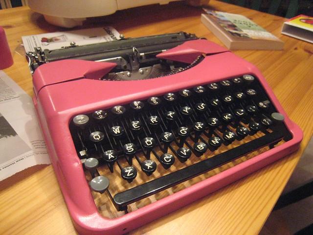 Pink Hermes Rocket typewriter