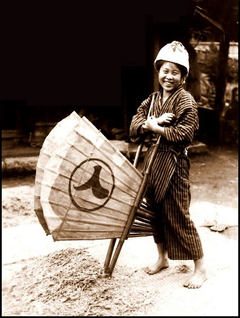 TAKING A BREAK TO SMILE FOR THE CAMERAMAN in OLD JAPAN