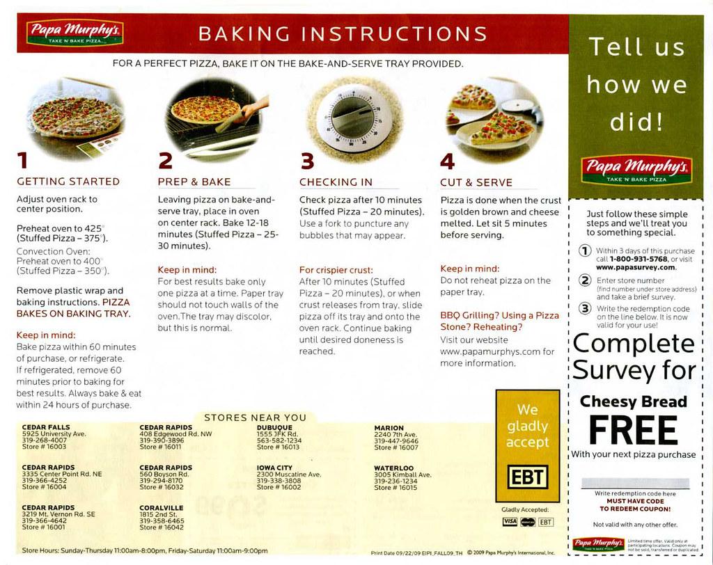 Papa murphy's pizza baking instructions/flyer (side 1) | flickr.