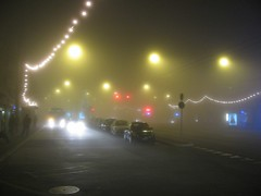 When I got back to Lausanne, the entire city was under a thick fog. This is near my apartment, at La Sallaz in Lausanne. If you look closely a bit to