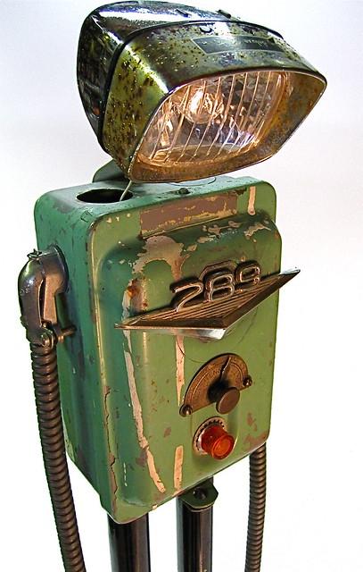 """""""even robot's get the blues"""" found object metal art junk sculpture"""