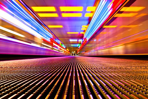 A moving walkway, moving sidewalk, moving pavement, conveyor, autopedescalator, automated people mover, walkalator, travelator, autowalk, horizontal escalator, slidewalk or movator!