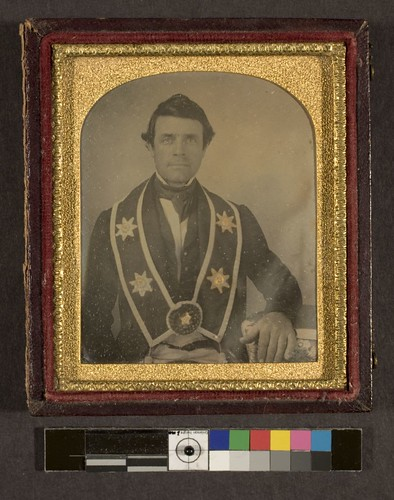 portrait of man wearing sash of a fraternal order