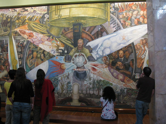This mural by diego rivera was rejected by the rockefeller for Diego rivera mural new york rockefeller
