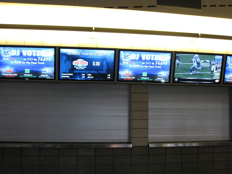Concessions stand with Cisco Digital Media at the Dallas Cowboys Stadium