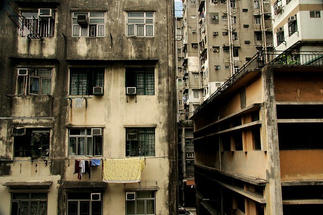 Run down apartment blocks in residential Kowloon. Hong ...