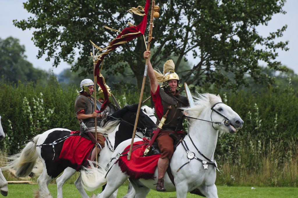 Mounted Romans Warrior Soldiers, Roman Army on Horseback, Ermine Street Guard at Kelmarsh