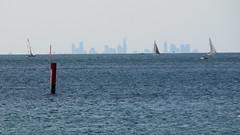 Melbourne skyline from across Port Phillip Bay.