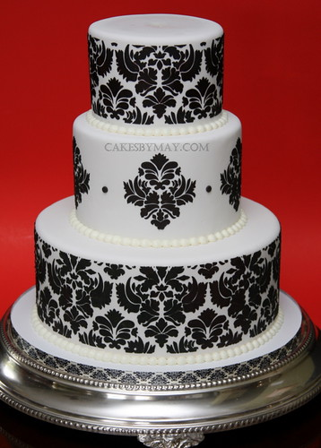 Damask Pattern Wedding Cake