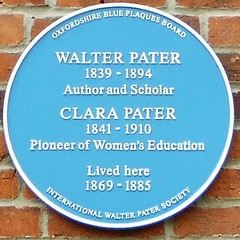 Photo of Clara Pater and Walter Pater blue plaque
