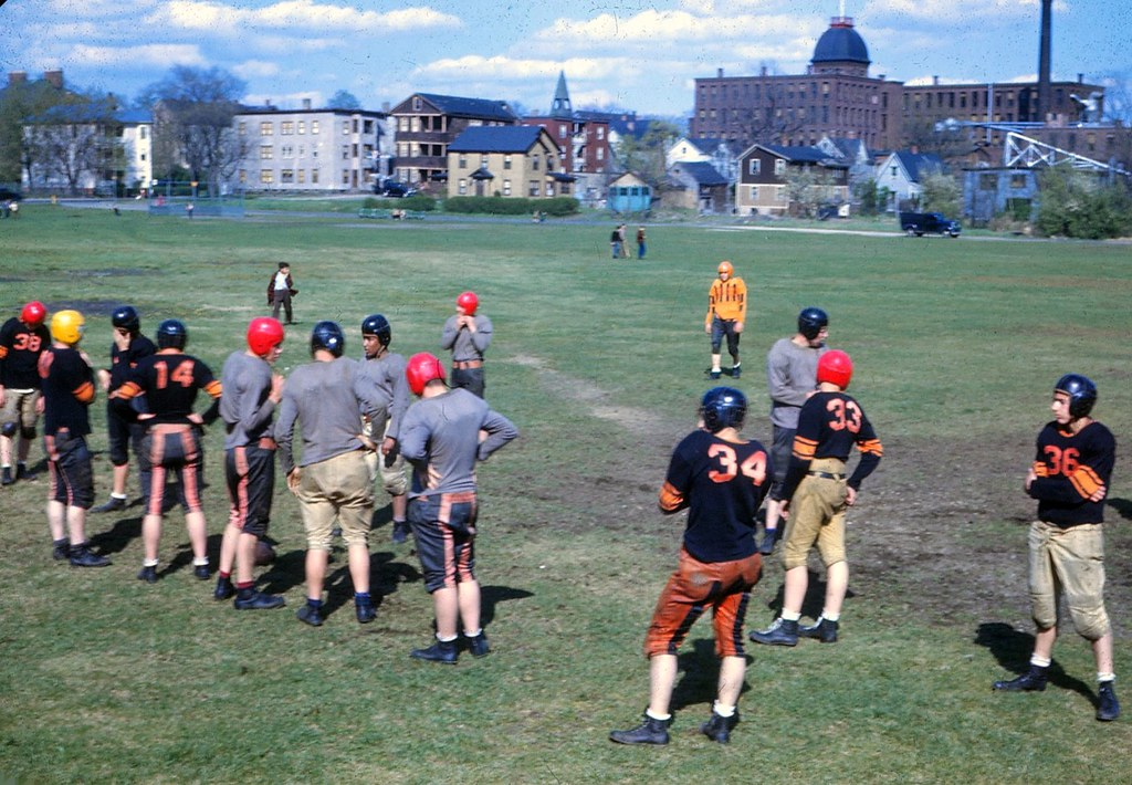 1946 North High Football Practice - Worcester, Massachusetts