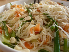 salad(0.0), fried noodles(0.0), noodle soup(0.0), cellophane noodles(0.0), produce(0.0), noodle(1.0), mie goreng(1.0), bakmi(1.0), lo mein(1.0), pancit(1.0), spaghetti(1.0), spaghetti aglio e olio(1.0), green papaya salad(1.0), food(1.0), dish(1.0), yakisoba(1.0), chinese noodles(1.0), pad thai(1.0), vermicelli(1.0), cuisine(1.0), chow mein(1.0),