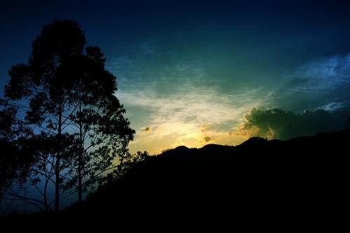 sunset sky silhouette sunrise landscape