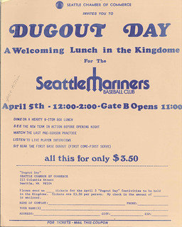 Flyer for Dugout Day in Kingdome, 1977