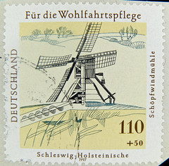 great stamp Germany 110 + 50 pf. Schöpfwindmühle Schleswig Holstein (windmill Windmühle) postage charity stamp issue Wohlfartsmarke Deutschland germany stamp bollo postage selo timbre special issue stamp, commemorative issue, émission commémorat
