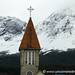 Church Against the Mountains in Ushuaia, Argentina