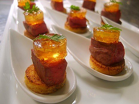 Canape of pigeon hot apple jelly canapes by mint dining flickr photo sharing for Canape history