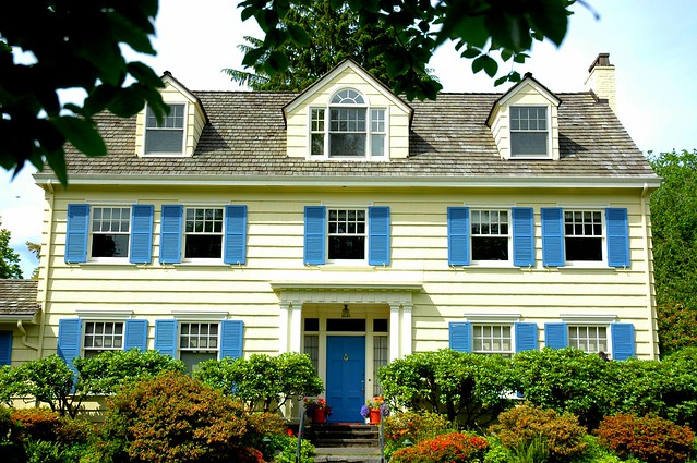 Three Gables 10 Windows Blue Shutters Yellow House In