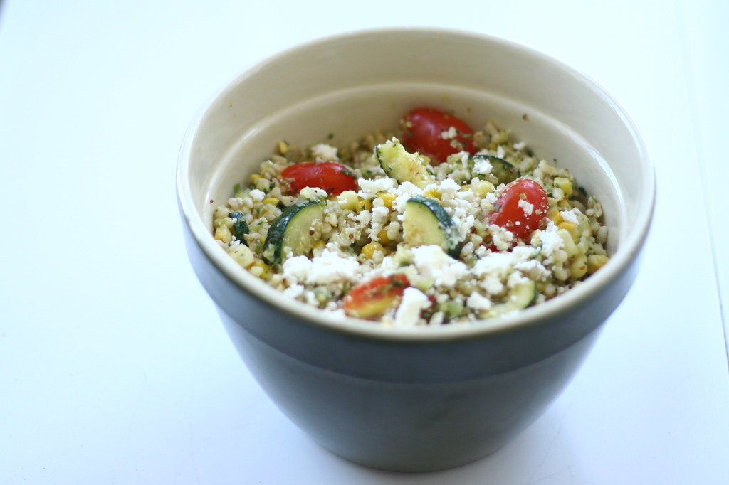 Tomato, Corn and Zucchini Salad with Brown Rice