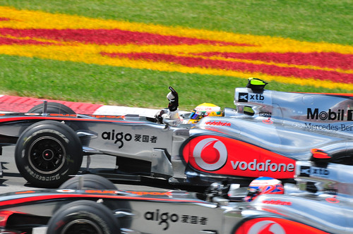 Lewis Hamilton wins the 2010 Canadian Grand Prix, and salutes the crowd