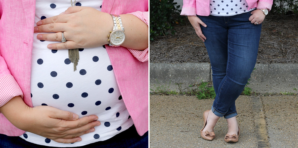 pink blazer, polka dot tee and maternity jeans 1