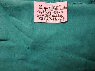 Nubbly turquoise mystery fabric