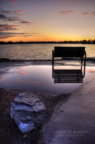 sunset ontario canada reflection bench nikon sigma hdr d300 photomatix lakewilcox carlosdramirez