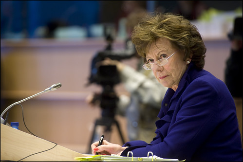 Neelie Kroes listening attentively to MEPs during her hearing