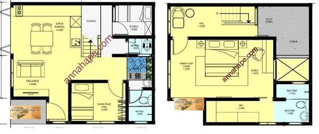 Gambar Denah Rumah Minimalis 2 lantai Luas Tanah/LT 90m2 ...