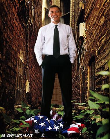 American flag Obama standing