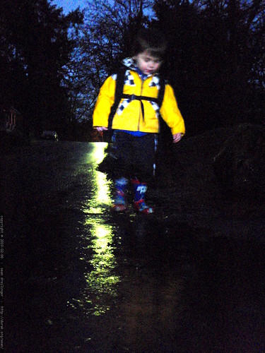 walking home from daycare in the rain, in the dark   P1120068