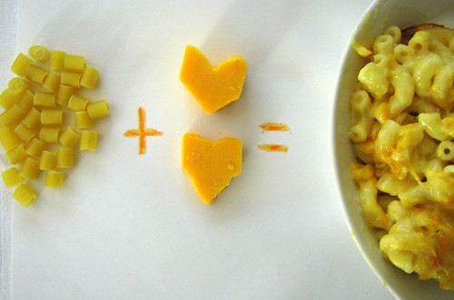 macaroni + cheese =