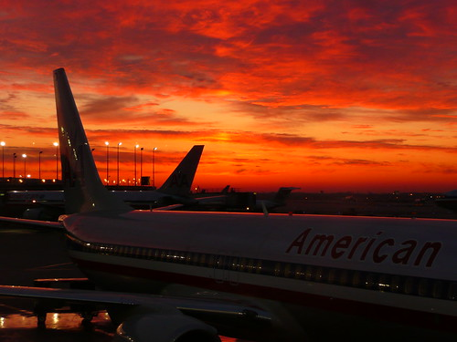 chicago sunrise illinois airport ohare il international american americanairlines