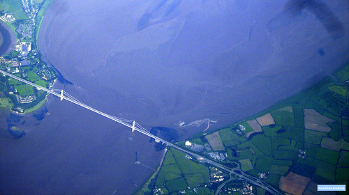 Severn bridge, aerial photograph