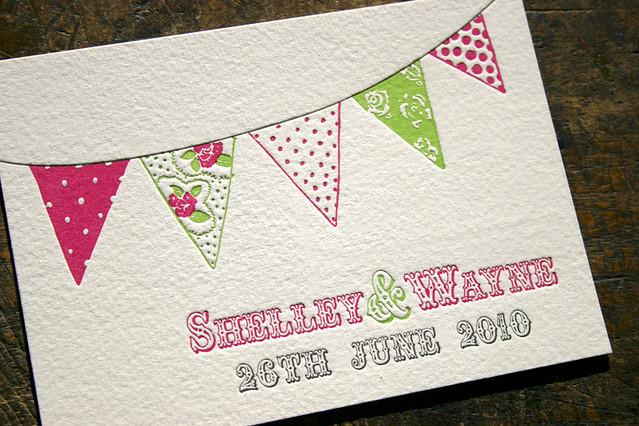 Bunting Wedding Invite: Bunting Letterpress Wedding Invitations