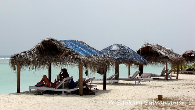 Huts on the Kadmat Beach