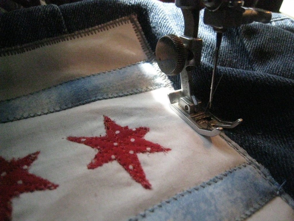 jacket-patch satin stitch