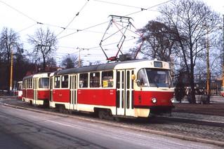 Košice Tramvaj, Slovakia. Tatra T3 tram nr 388. linka 2,  March 1993