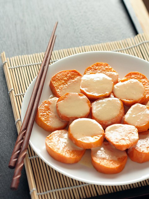 6 Bittersweets: Roasted Sweet Potatoes with Miso-Tahini Glaze