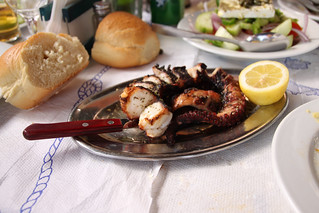 Greek-style Santorini seafood dish, grilled and served with a lemon wedge