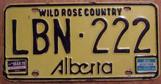 ALBERTA 1977, 1978 ---#222 PASSENGER LICENSE PLATE
