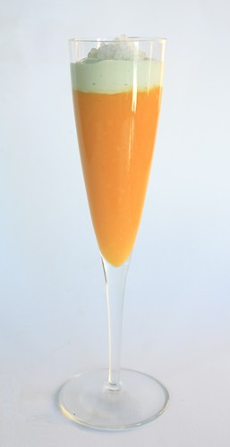 Cold Mango Soup with a Green Tea Cream Float and Coconut Caviar