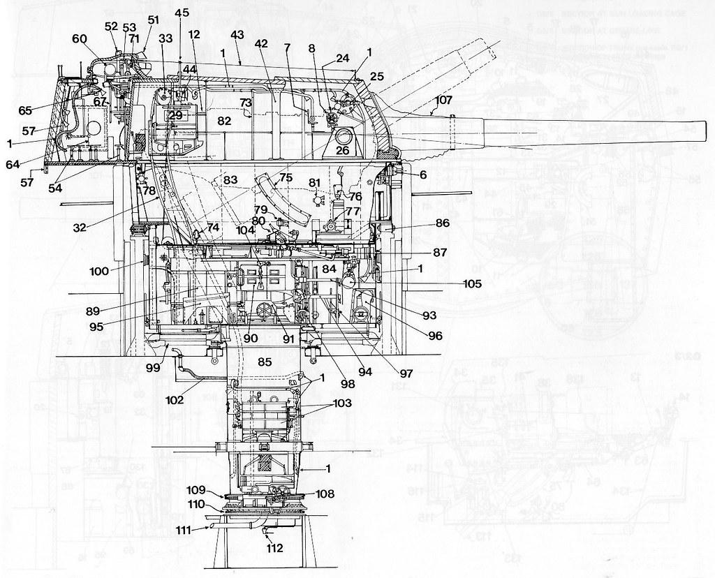 longitudinal section of british 15 u0026quot   42 mark ii gun turret