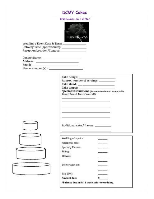 how to create a cake order form