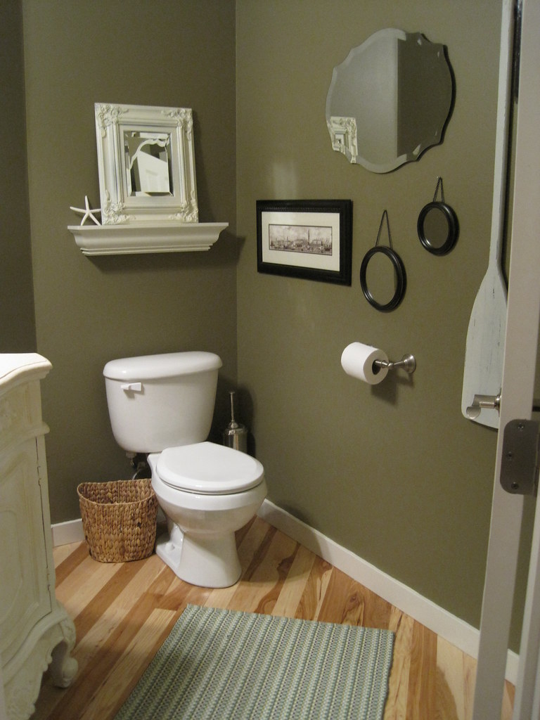 Powder room the almost afters the inspired room for Bathroom decor green and brown