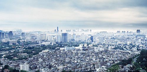 panorama mist film clouds analog photoshop cityscape stitch kodak pano large lookout 8x10 300mm seoul photomerge format southkorea p2 overview sinar schneiderkreuznach republicofkorea e100g namsam 56300 63tower photoisland