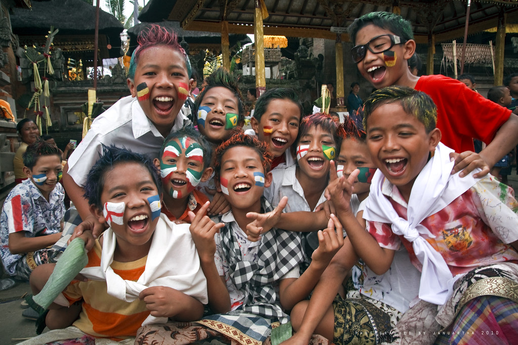 Balinese Kids from Tegalalang, Gianyar, painted their paces during Ngerebeg Ceremony